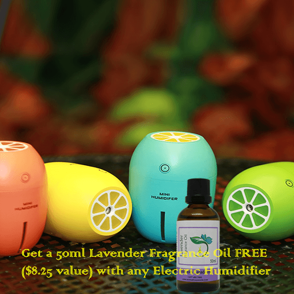 Lemon USB ultrasonic humidifier with Lavender Fragrance Oil-new